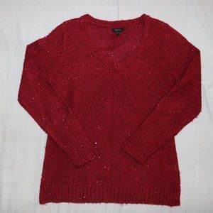 Apt 9 Red Sparkle Sequins Long Sleeve Sweater